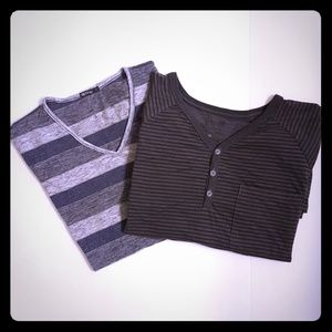 Two mens T-shirts, 1 short, 1 long sleeve size L